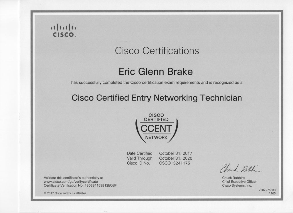 cisco certified entry networking technician
