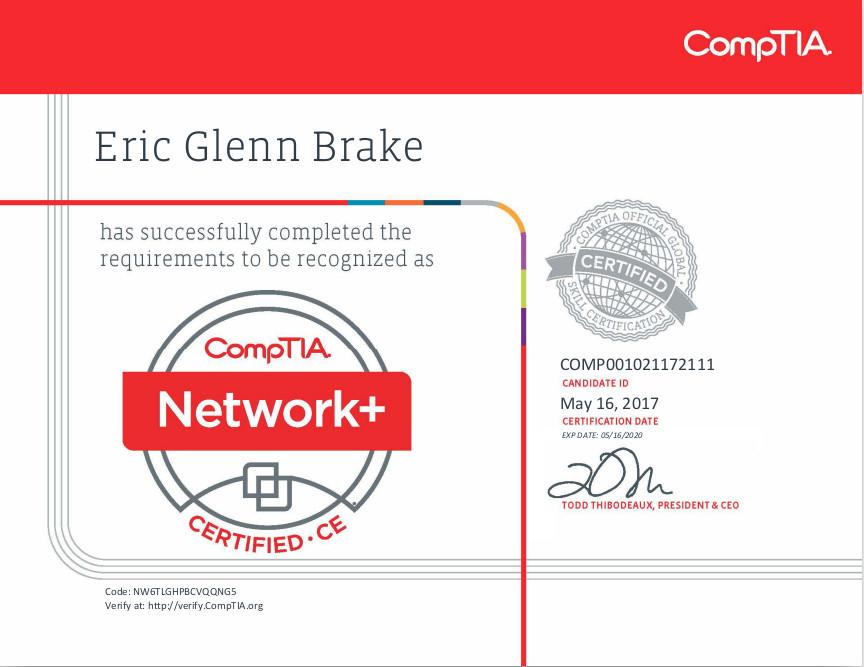 comptia net+ certificate
