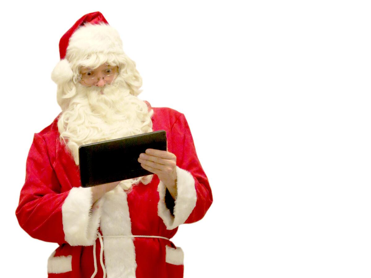 santa claus using tablet