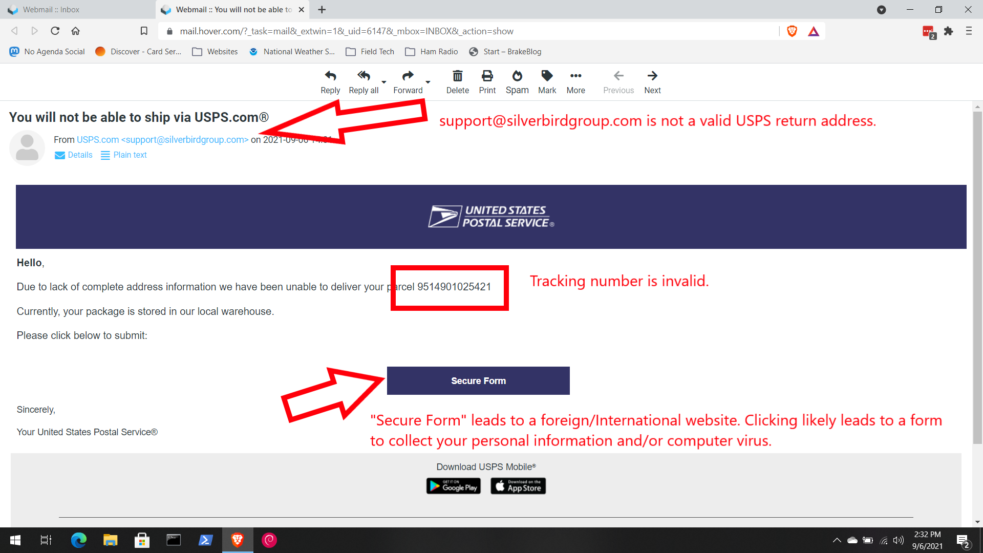 Phishing spam USPS